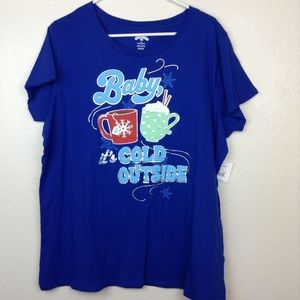 Baby It's Cold Outside Blue Short Slv Tee 3X NWT